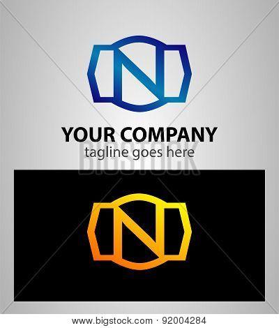 Letter n logo icon design template elements. Vector color sign