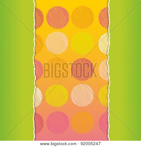 Vintage card design Polka dot background, scribble dot on green and orange background, template for