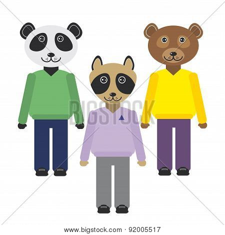panda, raccoon, bear animals set in Trendy Flat Style. zoo infographics design. Vector
