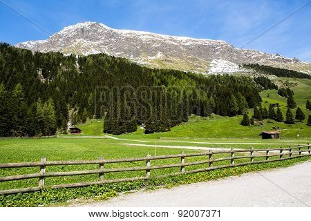 Great view of the alpine meadows with blue sky