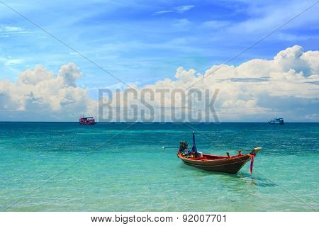 Small taxi boat in the tropical sea