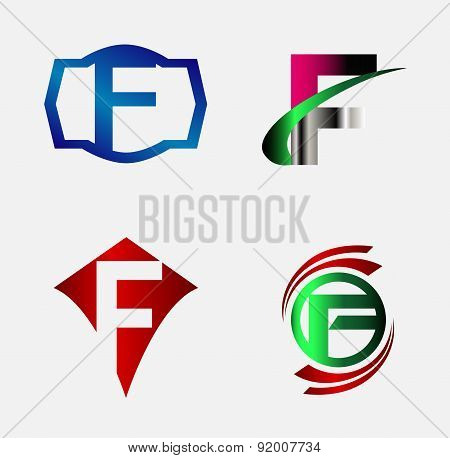 Corporate Logo F Letter company vector design template set