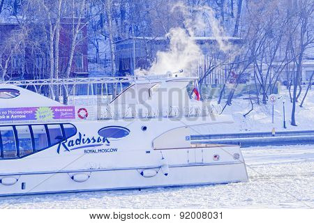Boat Staff Radisson On Moscow River In Winter
