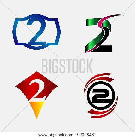 Number logo design.Number two logo.Logo 2 vector template