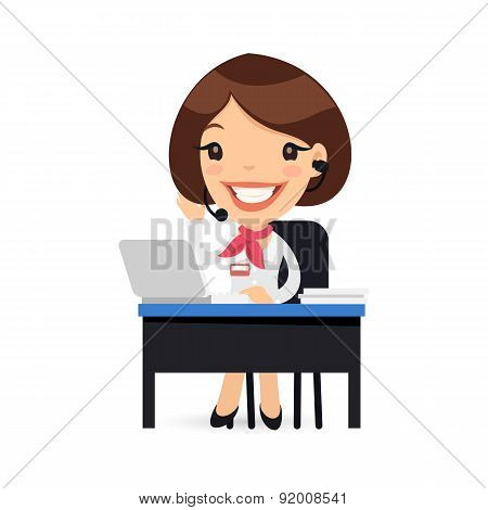 Female Cartoon Support Character at her Desk