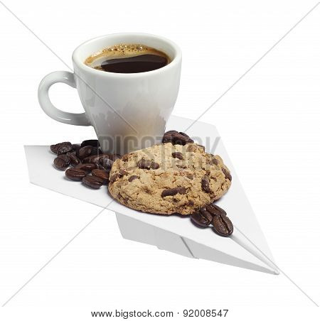 Coffee Cup And Cookie On A Paper Plane