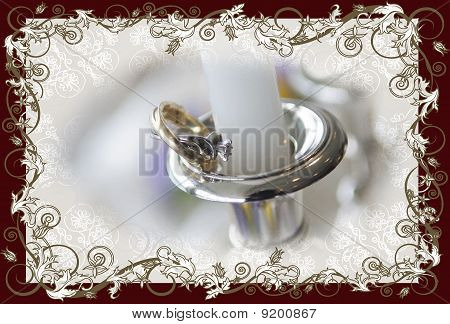 Candlestick With Candle On A Bridal Table