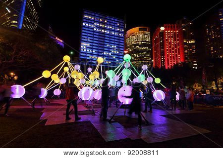 Tourists And Locals Enjoying Affinity At Vivid Sydney
