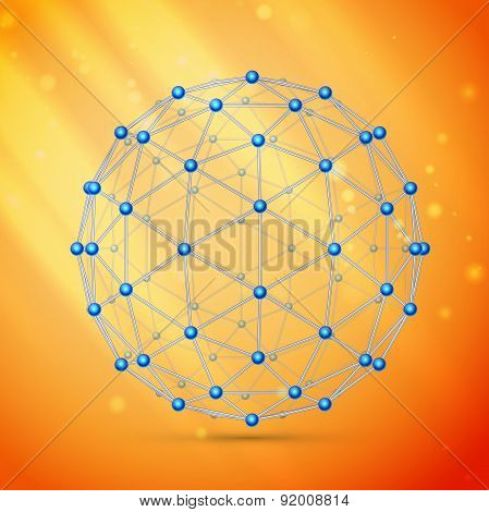 Wireframe polygonal element, molecule