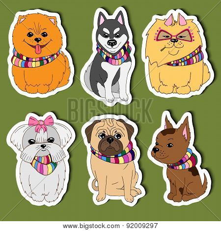 Set Cartoon Stickers Dogs For Kids. Hand Drawn Colorful Vector. Eps 10.