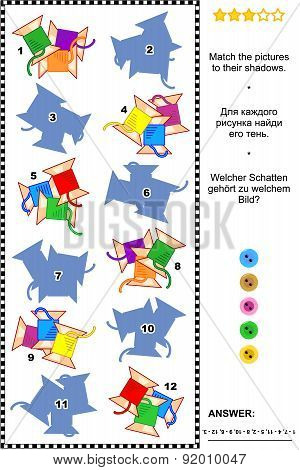 Sewing spools shadow matching game