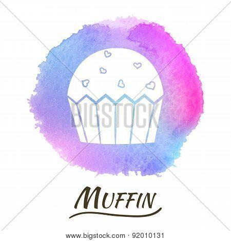 Food Dessert Muffin Vector Watercolor Concept
