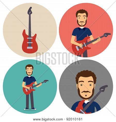 Guitar Musician Flat Circle Icons Set