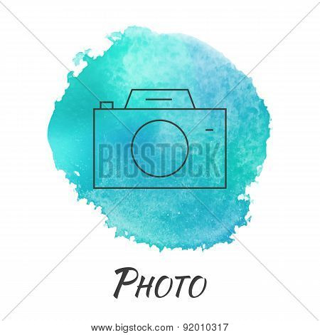 Photo Camera Vector Watercolor Concept