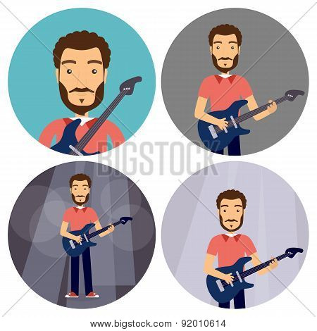 Rock Music Man With Guitar Flat Circle Icons Set