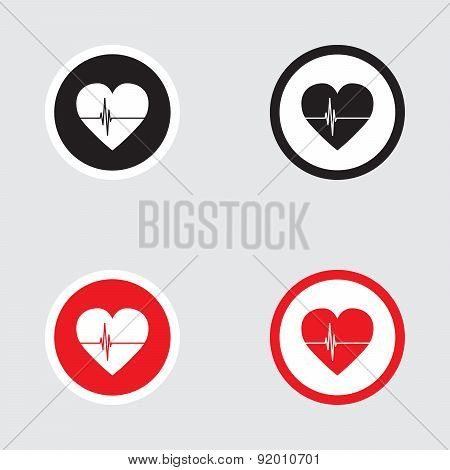 Heart Icon Vector With Four Variations