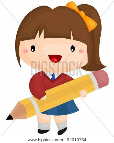 Girl And Pencil