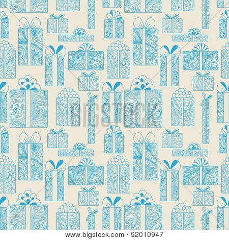 Seamless Gift Boxes Pattern On Beige Background