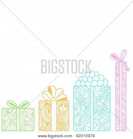 Bright Gift Boxes Bottom On White Background