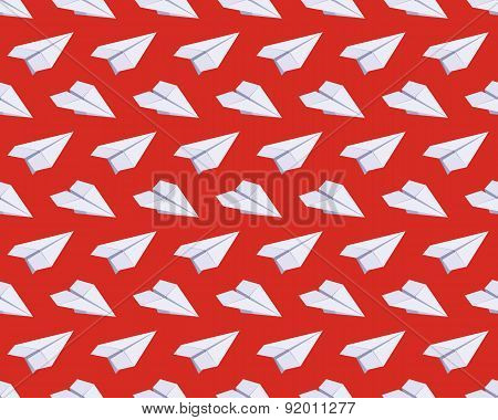 Seamless pattern with isometric paper planes against the red background