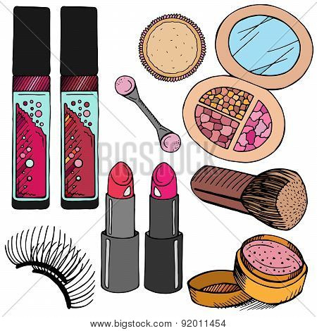 Vector Hand Drawn Colorful Cosmetic stickers set in cartoon style.