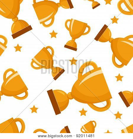 Seamless pattern with golden winners cup