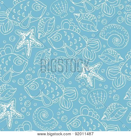 Hand Drawn Seamless Fish Pattern With Starfish, Bubbles, Shells And Seaweed On Blue Color Background