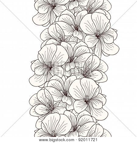 Seamless Geranium Flowers Border