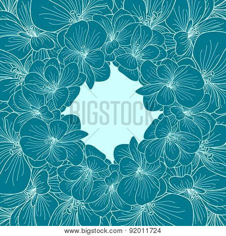 Green Blue Begonia Flowers Round Frame