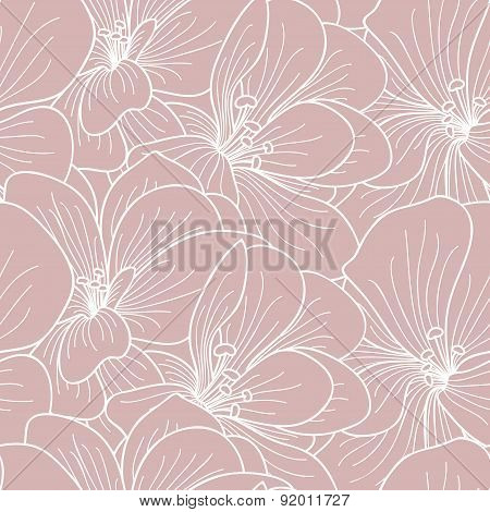 Pink And White Geranium Flowers Line Drawing Seamless Pattern