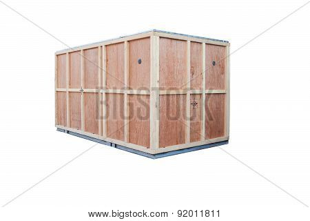 Protection Wood Box For Container Goods Import Export Isolated White Background