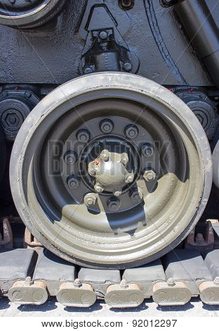 Tank Close-up With Wheel, Caterpillar.  American Tank.
