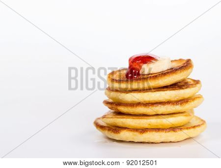 isolated desert - stack of pancake with banana