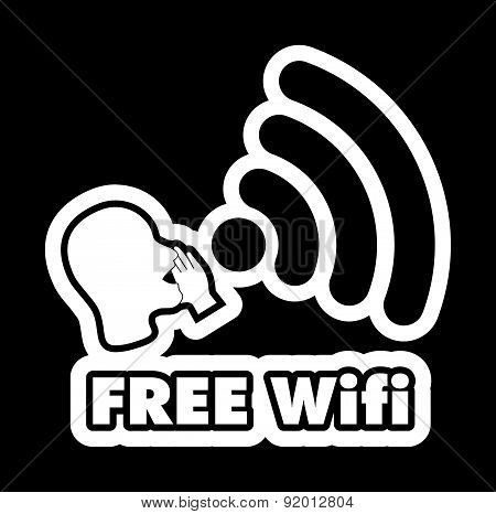 Free Wi-fi Black And White Sticker