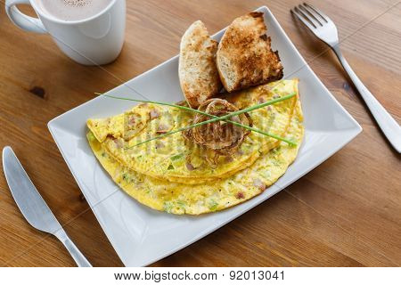 Denver Omelet On A Plate Close-up