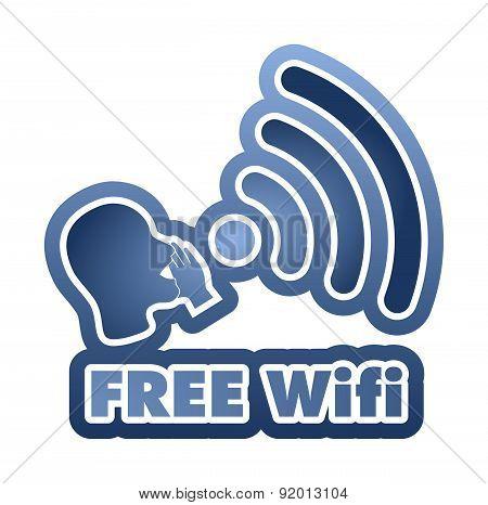 Free Wi-fi Blue Sticker