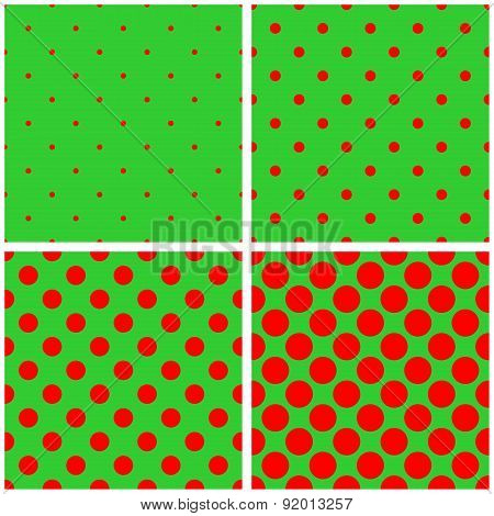 Tile vector red and green pattern set with polka dots