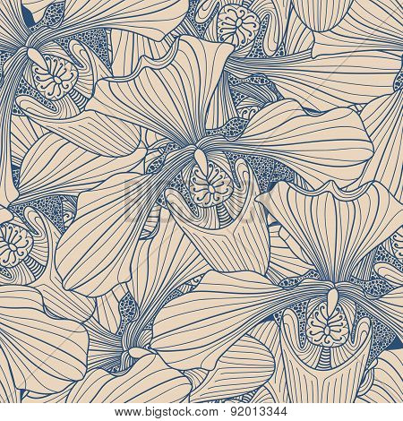 Beige And Blue Orchid Flower Seamless Pattern