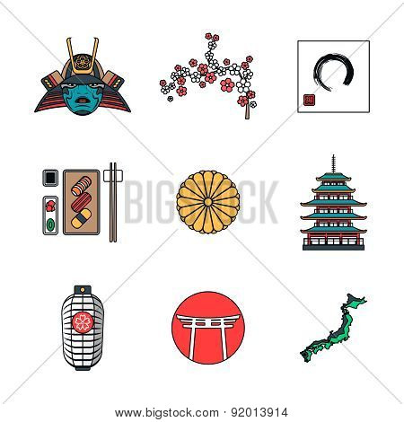 Colored Outline Various Japanese Icons Set.