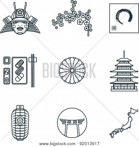 Dark Color Outline Various Japanese Icons Set.