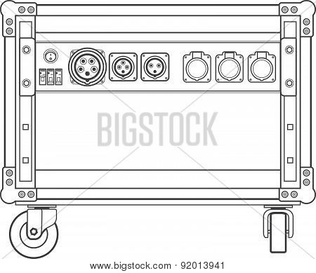 Dark Contour Concert Stage Rack Box Power Sockets Panel Illustration.