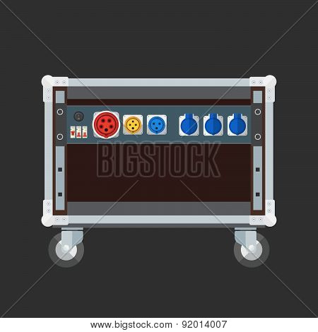 Flat Style Colored Concert Stage Rack Box Power Sockets Panel Illustration.