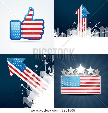 vector collection of american flag design of 4th july abstract background