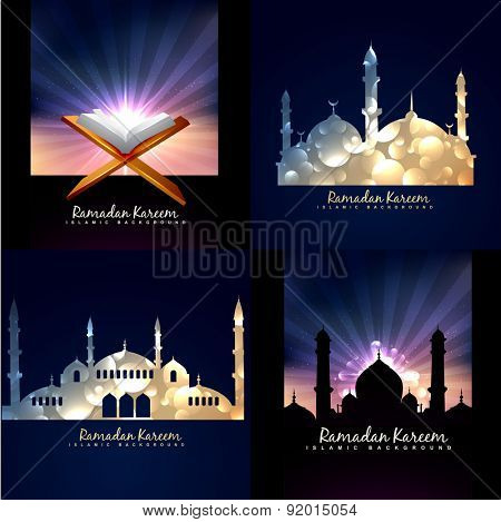 vector collection of ramadan kareem background festival of muslim with mosque illustration