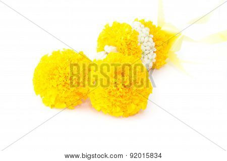 Marigold Flowers Garland, Thai Garland Of Colorful Flowers