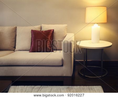 Beautiful Living Room With Baige Sofa