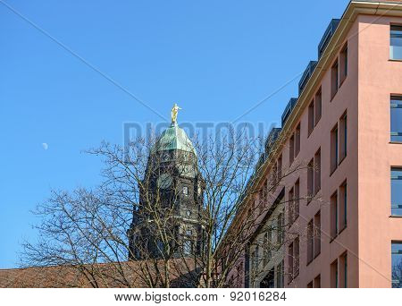 Old Tower Above New Town Hall In Dresden, Saxony, Germany.