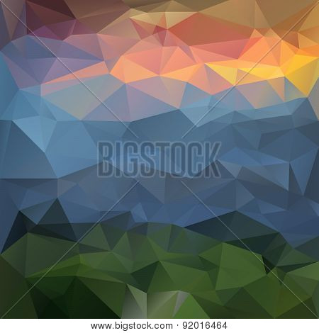 Vector Polygonal Background - Triangular Design In Nature Color