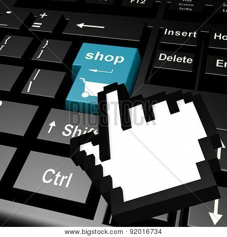 Shop Keyboard With Hand Cursor