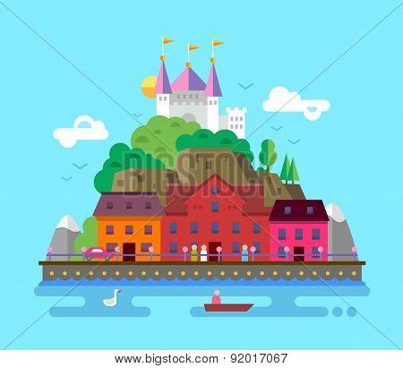 Flat design illustration of summer European beautiful landscape